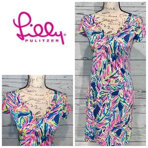 Lilly Pulitzer Palm Palmira V Neck Dress Size XS